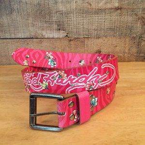 Ed Hardy Pink Leather Belt Sz XS Crystals & Tigers